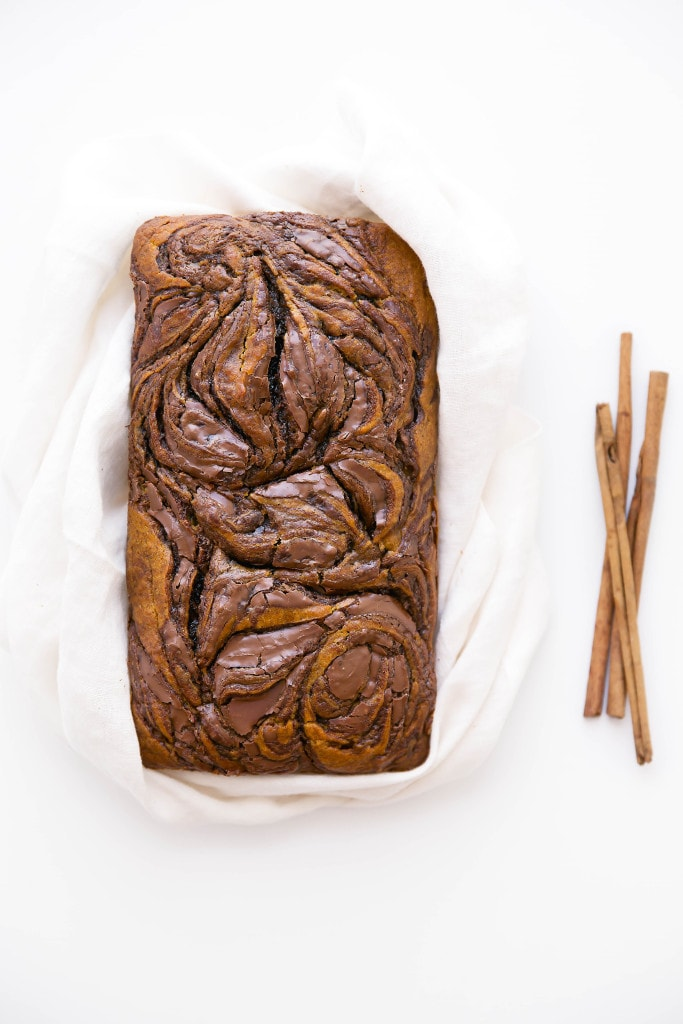 An epic spiced pumpkin bread swirled with thick ribbons of Nutella. One bite and you're in pumpkin heaven.