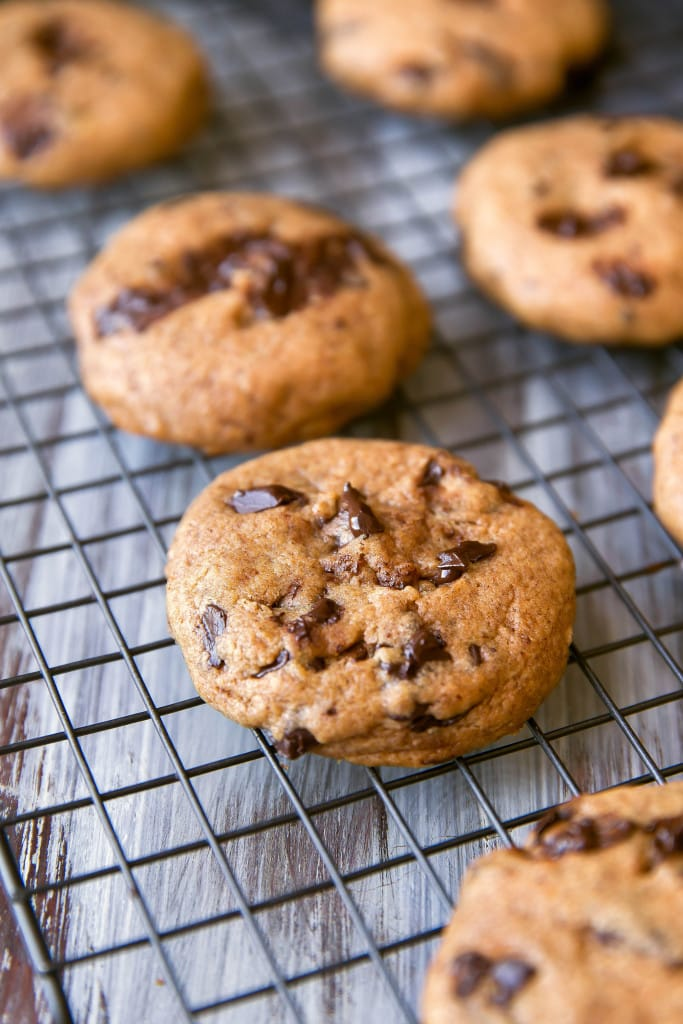 pumpkin chocolate chip cookies on a wire rack