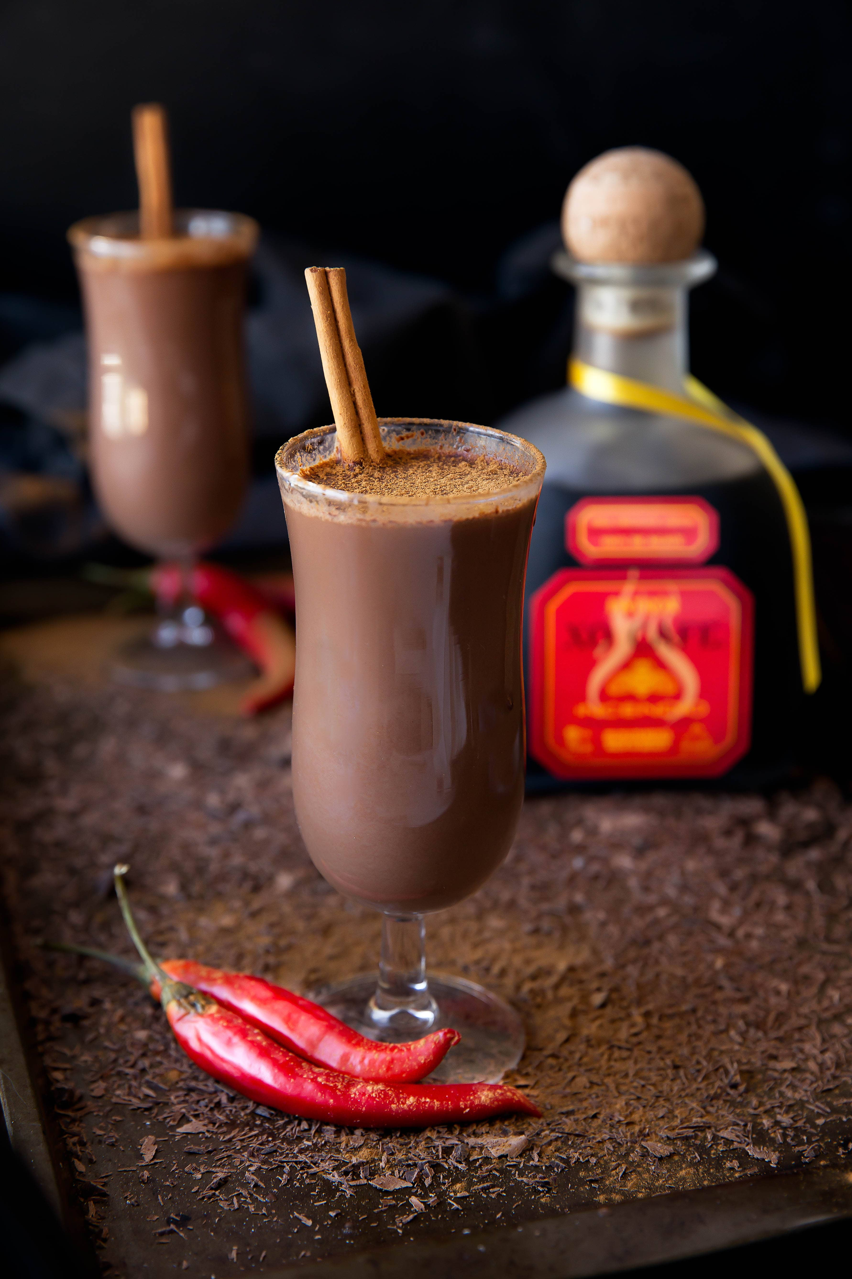 Hot Chocolate del Diablo: a decadent boozy hot cocoa made with chocolate chile tequila for a kick of spice!