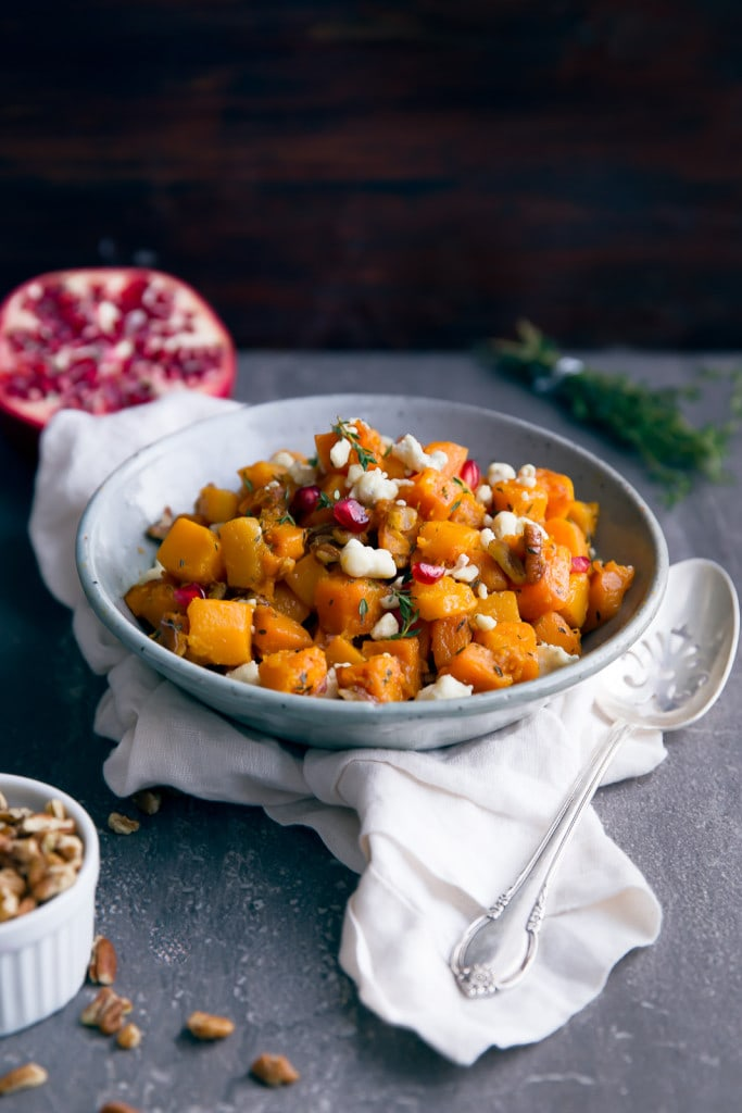 Roasted Butternut Squash with Gorgonzola, Pecans, and Pomegranate