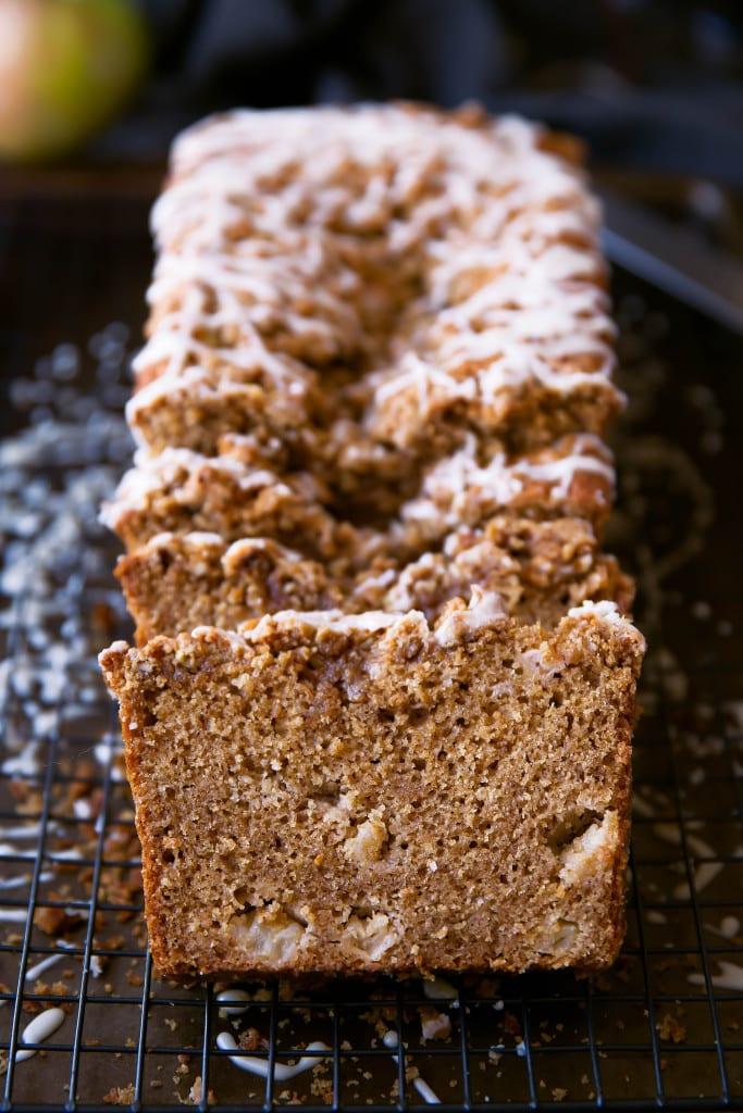 A moist sour cream apple coffee cake with an addicting maple pecan streusel!