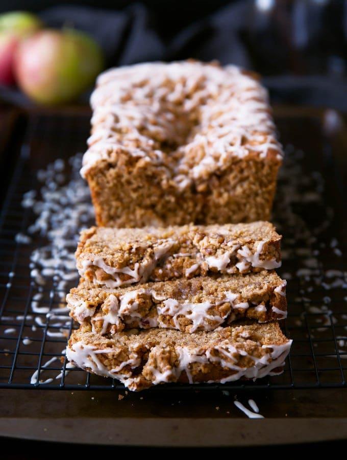 Sour Cream Apple Coffee Cake with Maple Pecan Streusel