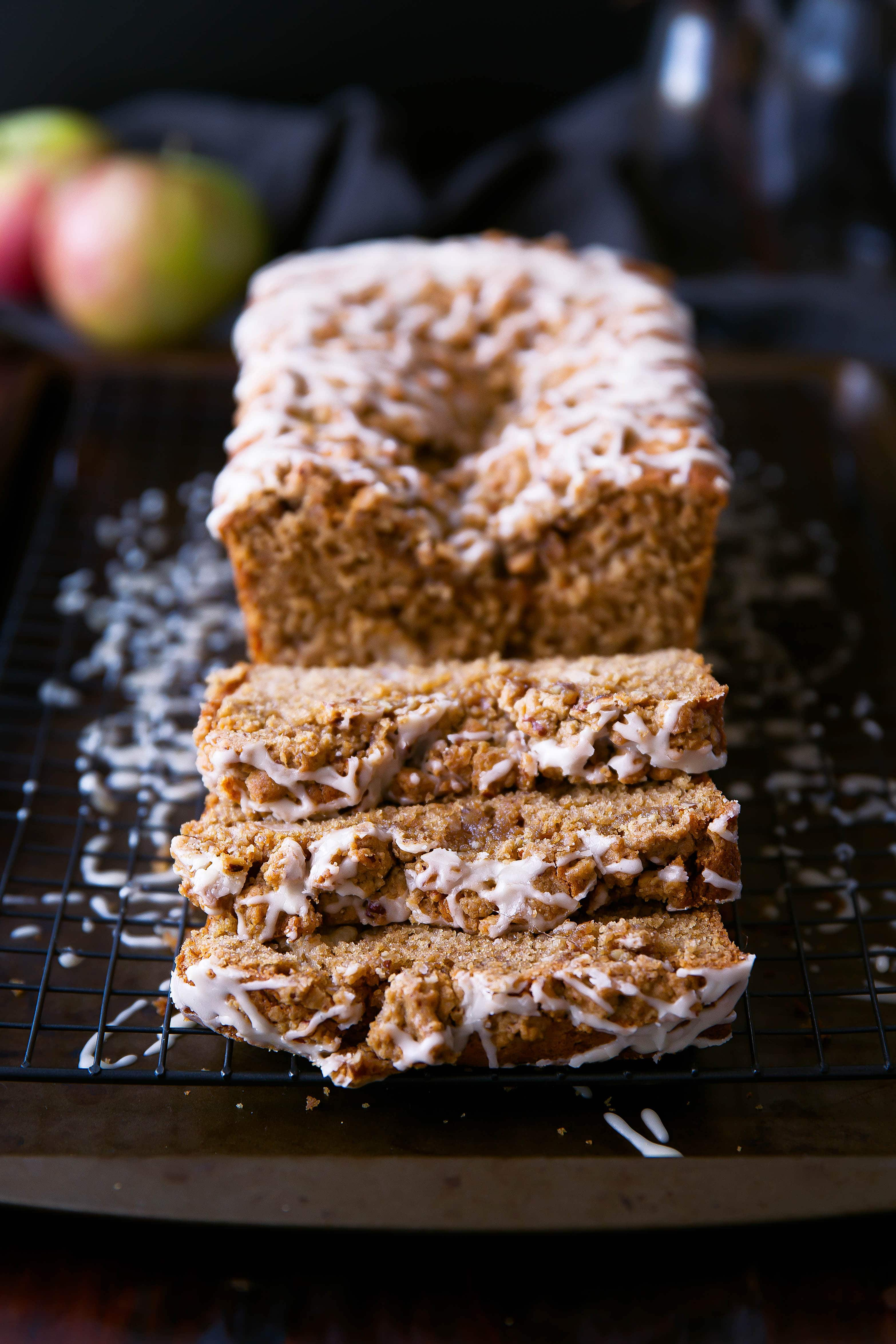 A moist sour cream apple coffee cake with an addicting maple pecan streusel!