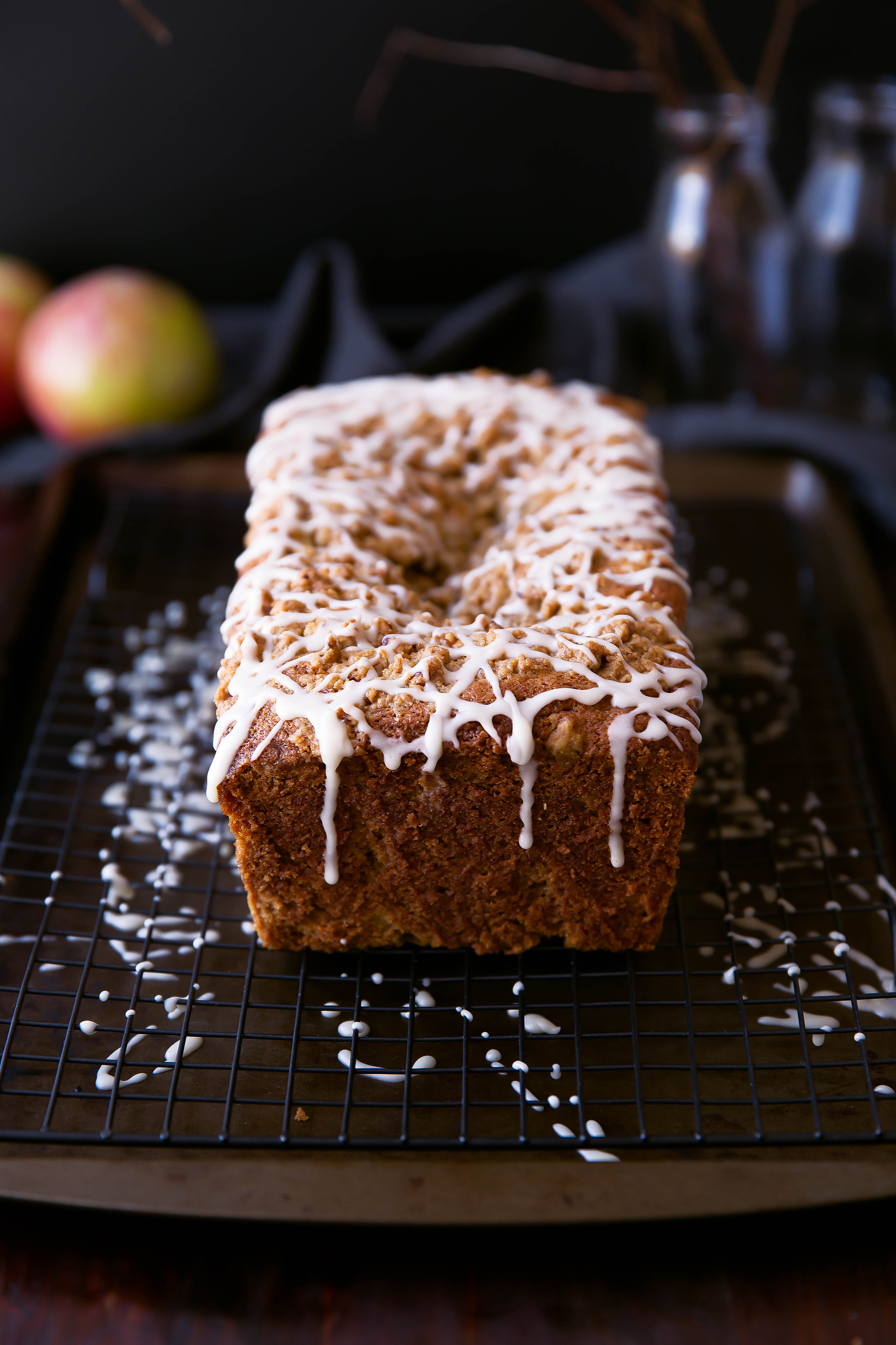 Sour Cream Apple Coffee Cake on cooling rack