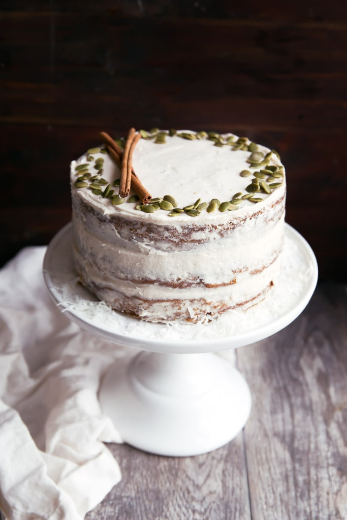 Naked Pumpkin Carrot Cake on cake stand
