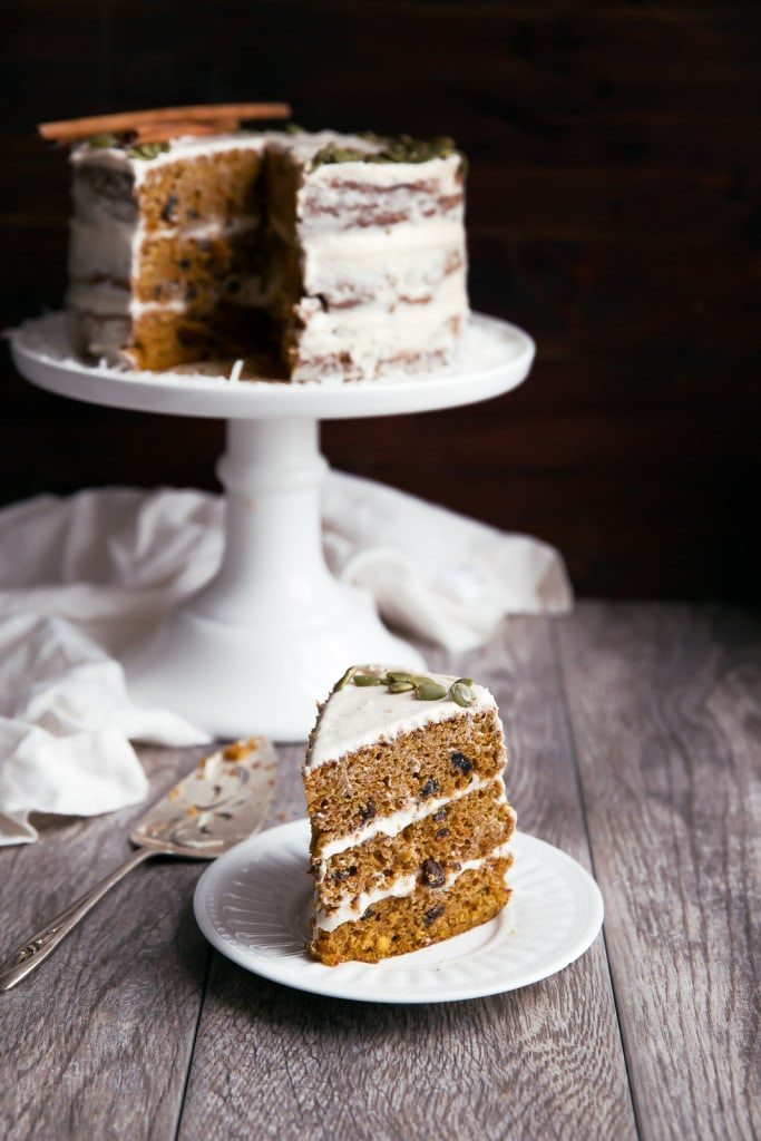 Naked Pumpkin Carrot Cake on plate