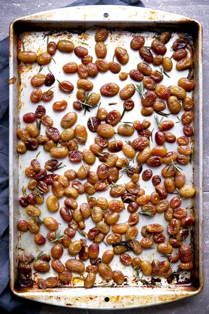 Rosemary Roasted Grapes: a sweet and savory alternative to cranberry sauce this holiday season!