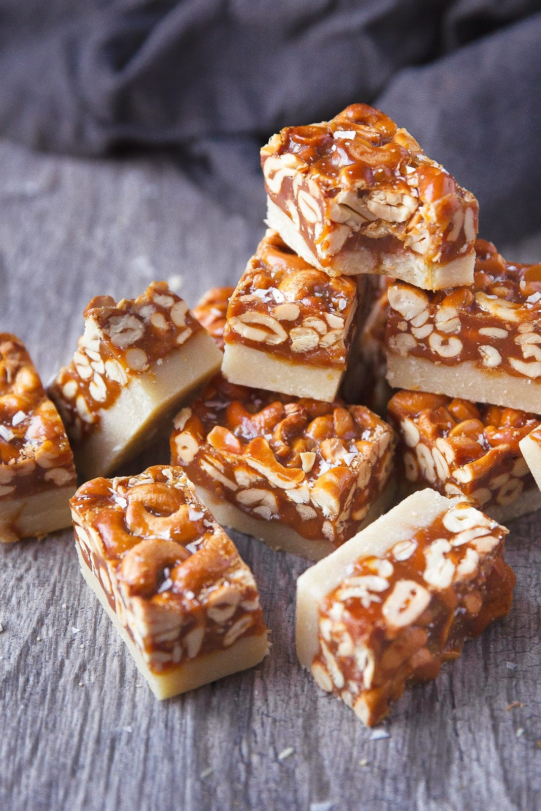 A thick and chewy caramel cashew bar with a cookie-like shortbread crust!