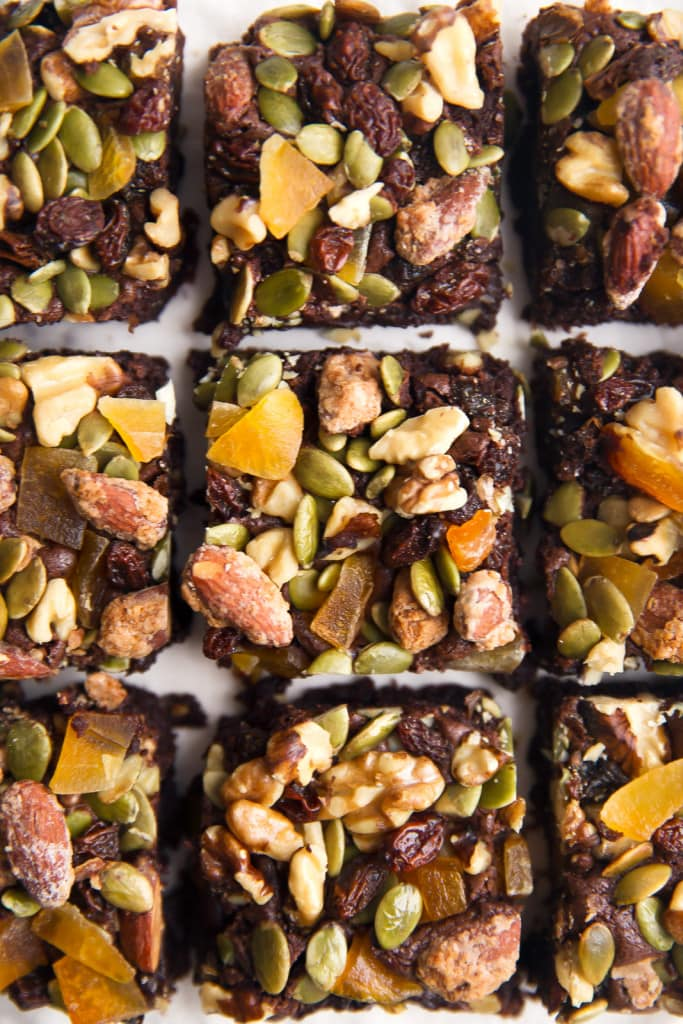 A fudgy brownie topped with Lush Nuts trail mix!