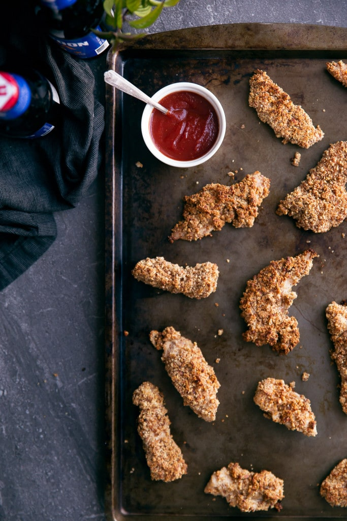 Wasabi-Almond Crusted Chicken Tenders with Sriracha Ketchup make for delicious game day eats!