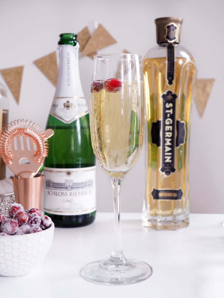 Elderflower Champagne Cocktail with Sugared Cranberries