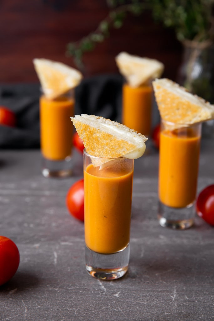 tomato bisque shooters with grilled cheese triangles
