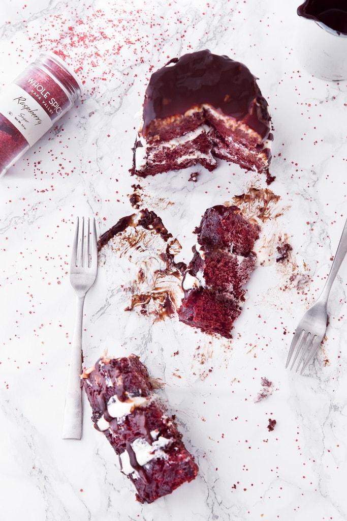 red velvet mug cake on countertop