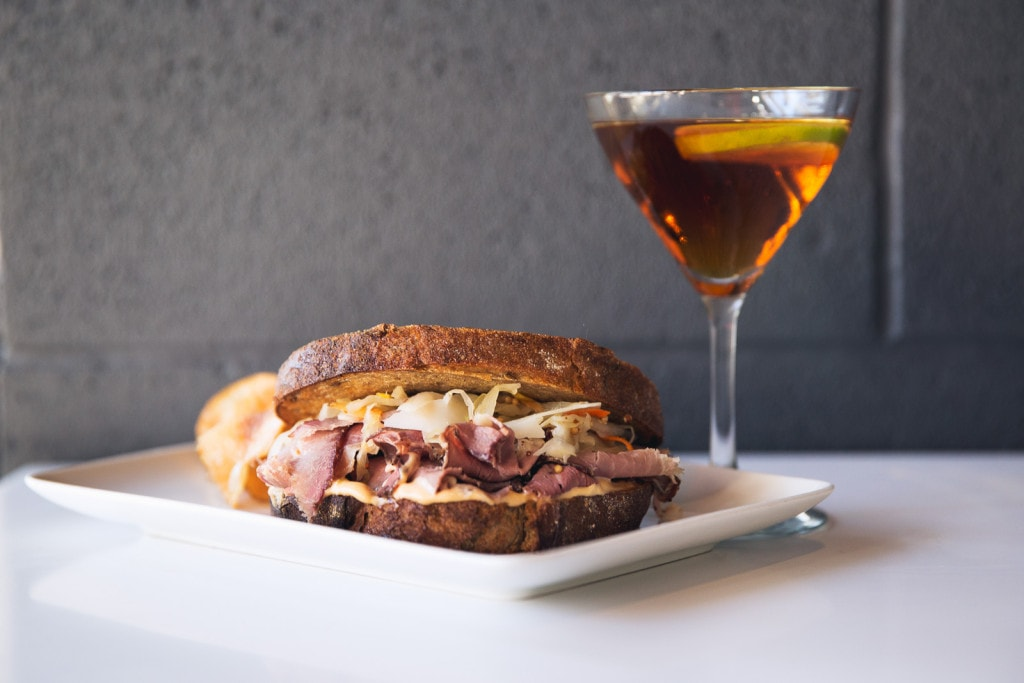 Pastrami Sandwich and an Old Fashioned at Ames Street Deli, Cambridge