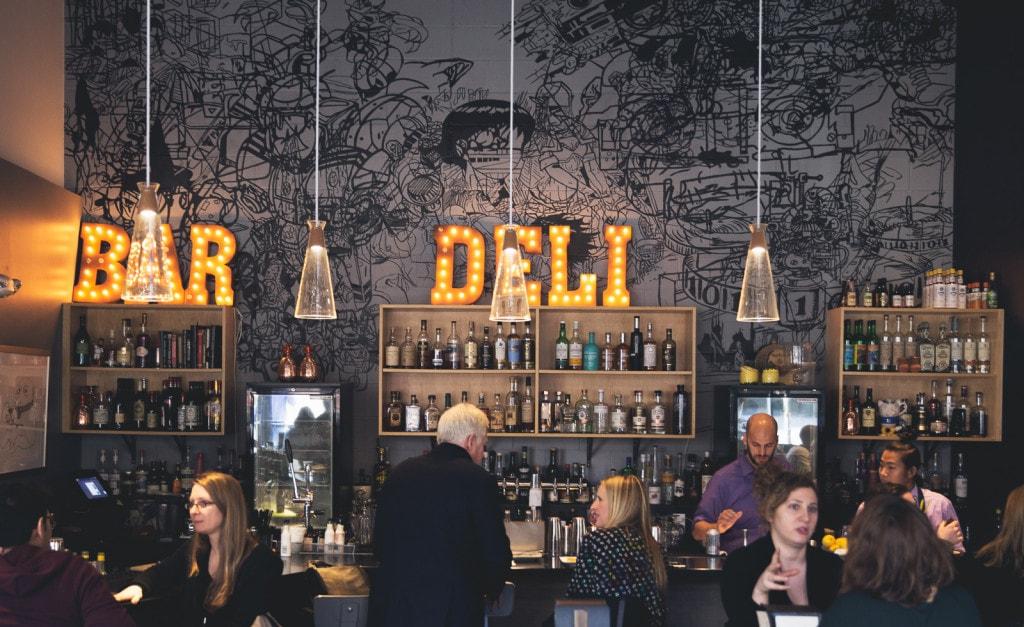The bar at Ames Street Deli, Cambridge