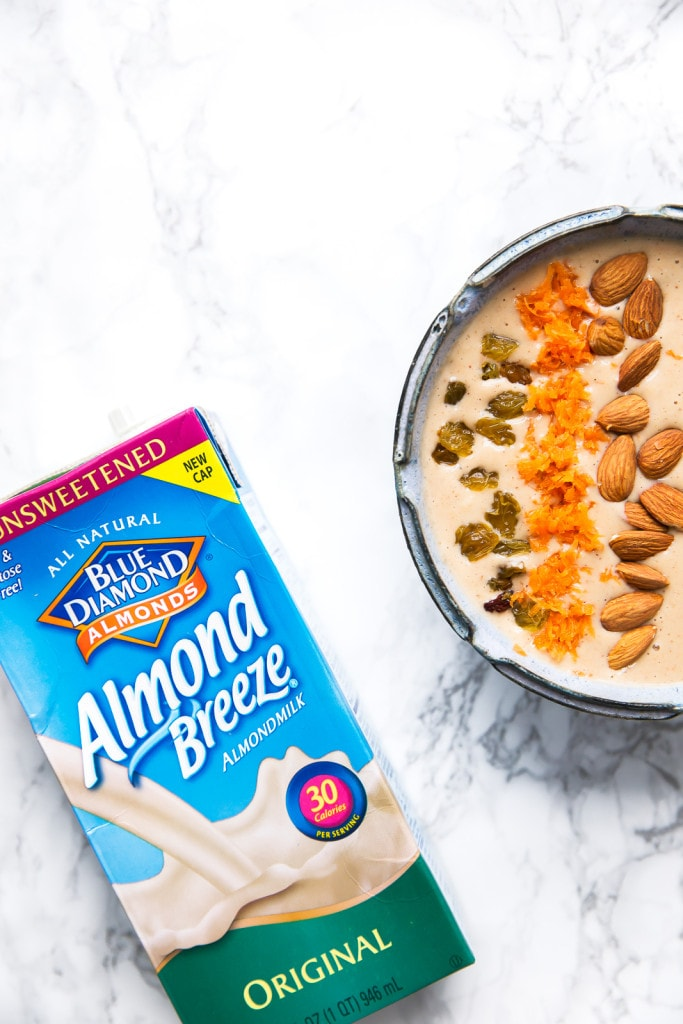 A Carrot Cake Smoothie Bowl that tastes just like a slice of carrot cake! I can finally have my cake and eat it too...
