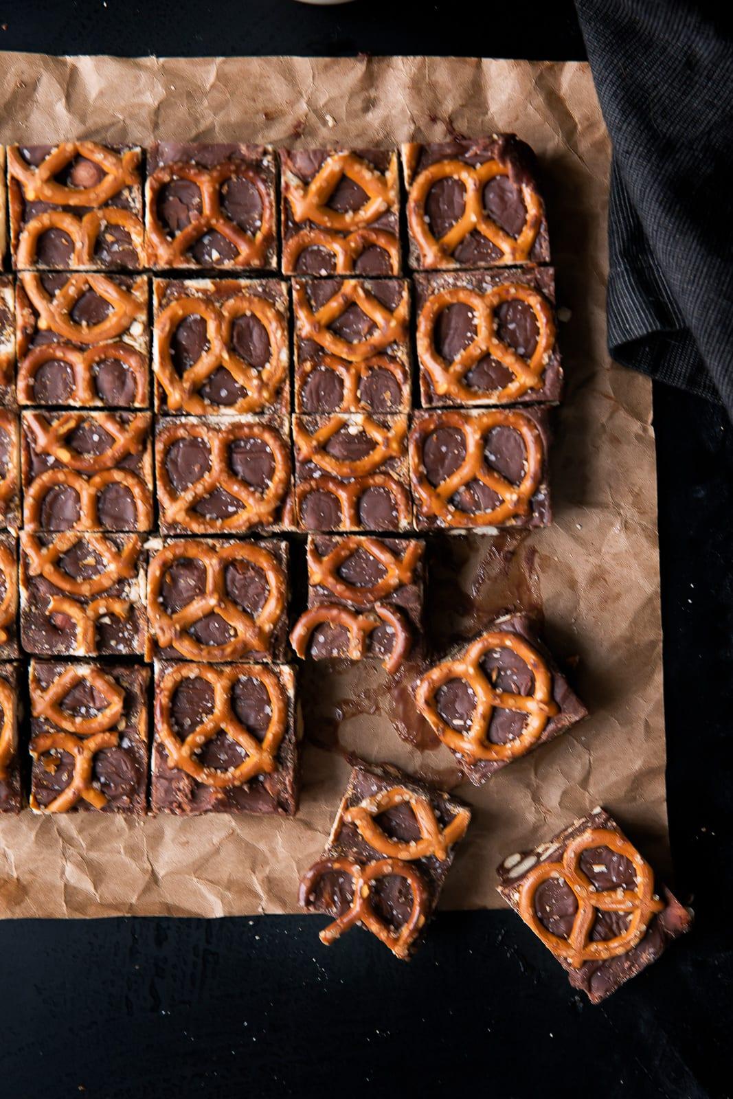 overhead shot of salted pretzel fudge