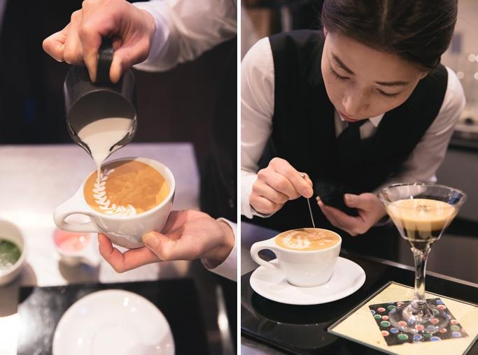 Award-winning latte artist Haruna Murayama at Ogawa Coffee, Boston