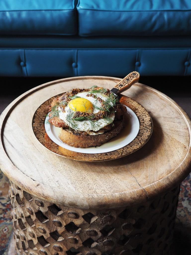 Open-faced Schnitzel Sandwich at Boho House, Chicago