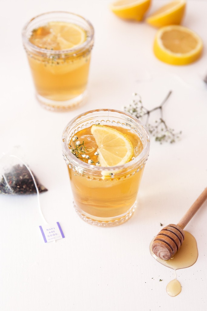 The Spring Buzz: a refreshing cocktail of freshly steeped chamomile tea, whiskey, elderflower liqueur, and honey.