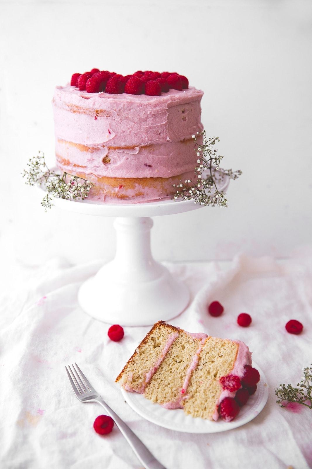 spring raspberry banana cake