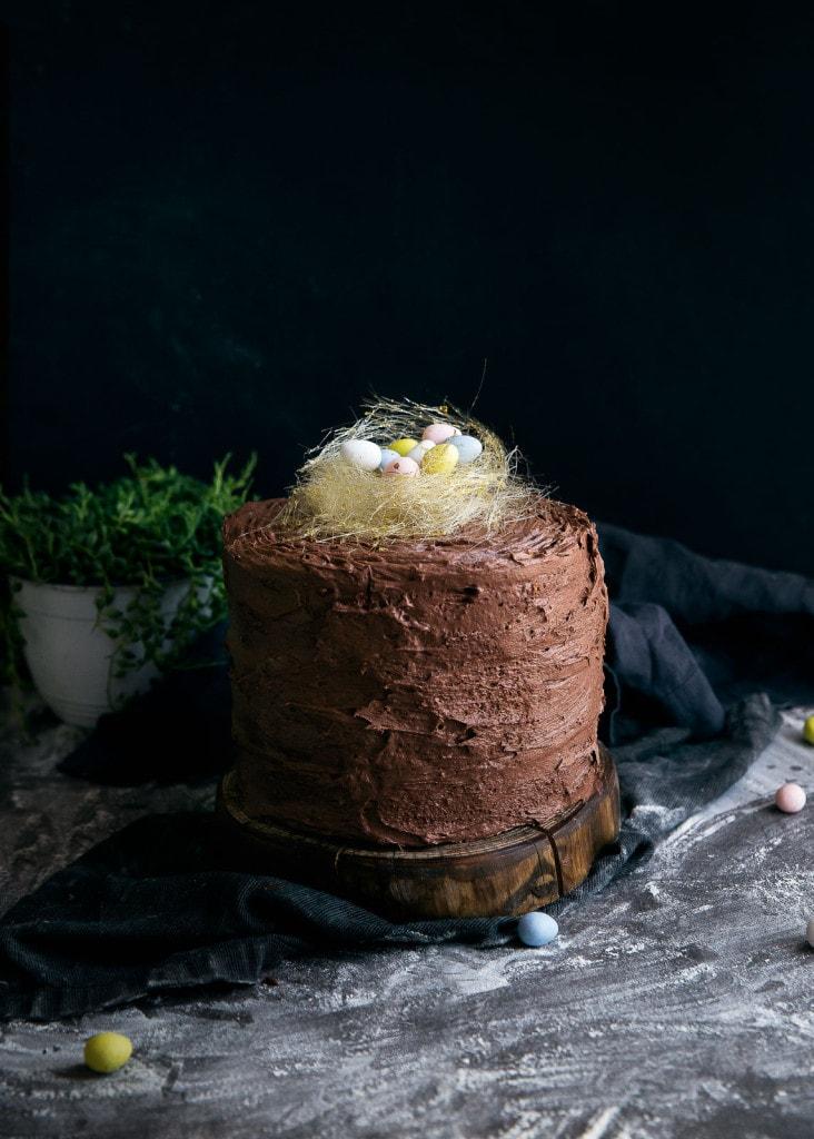 Easter Egg Cake with Spun Sugar Nest