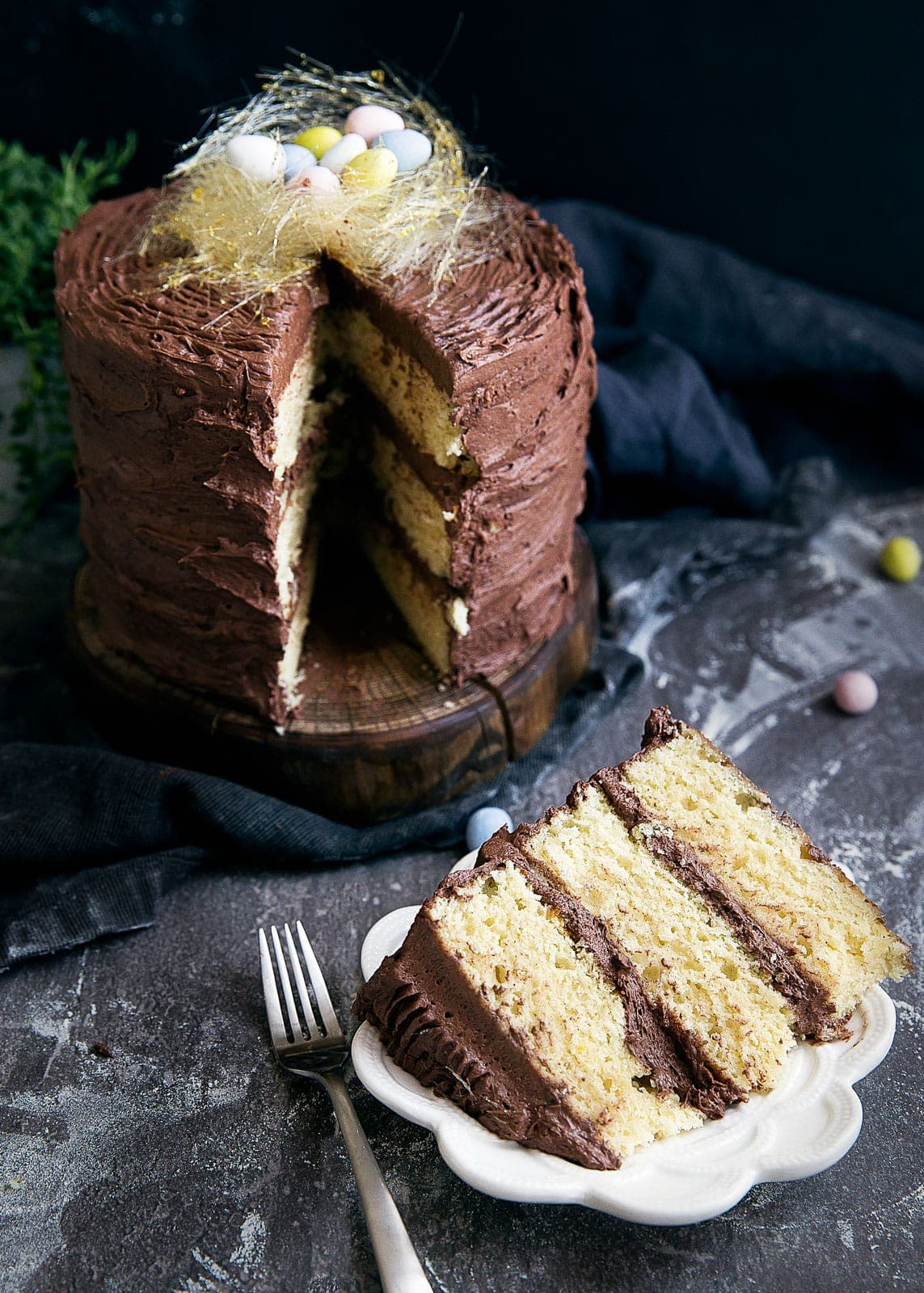 Moist vanilla layered cake, chocolate buttercream, and a spun sugar bird's nest make this cake perfect for Easter!