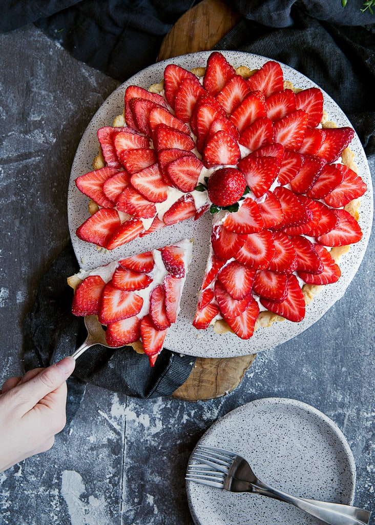 Strawberry Almond Tart with ricotta whipped cream