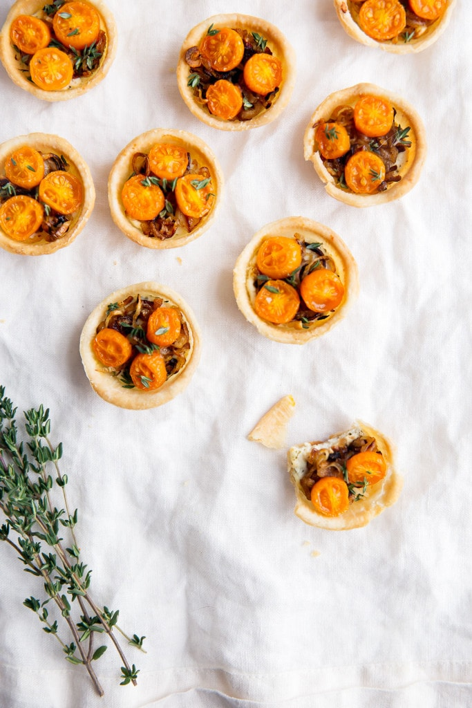 Goat cheese, caramelized shallots, and tomato tartlets