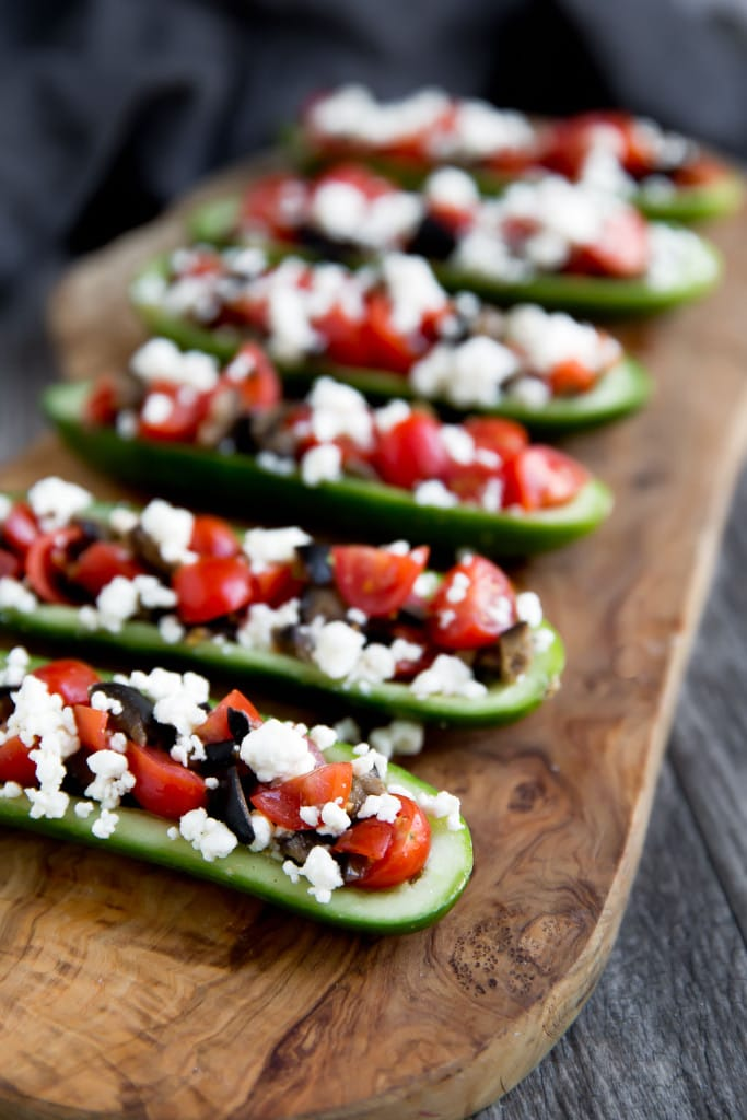 Cucumber boats with kalamata olives, tomatoes, and feta