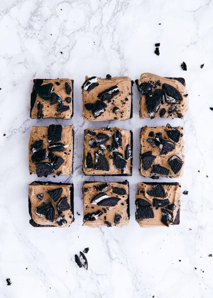 mocha brownies on a countertop