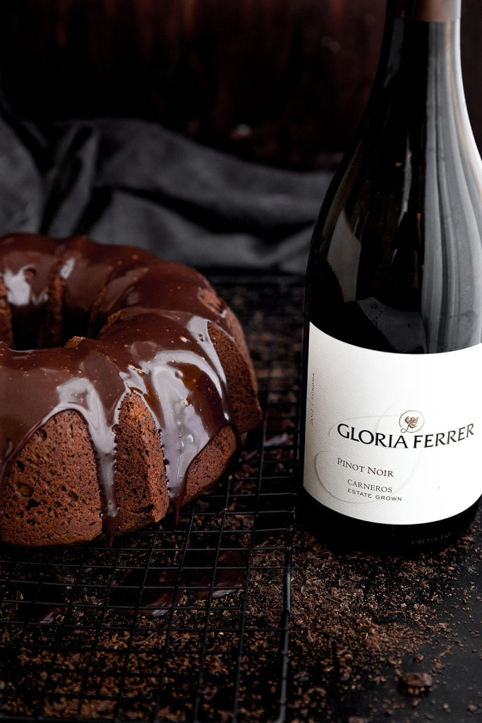 Red wine chocolate cake with wine bottle