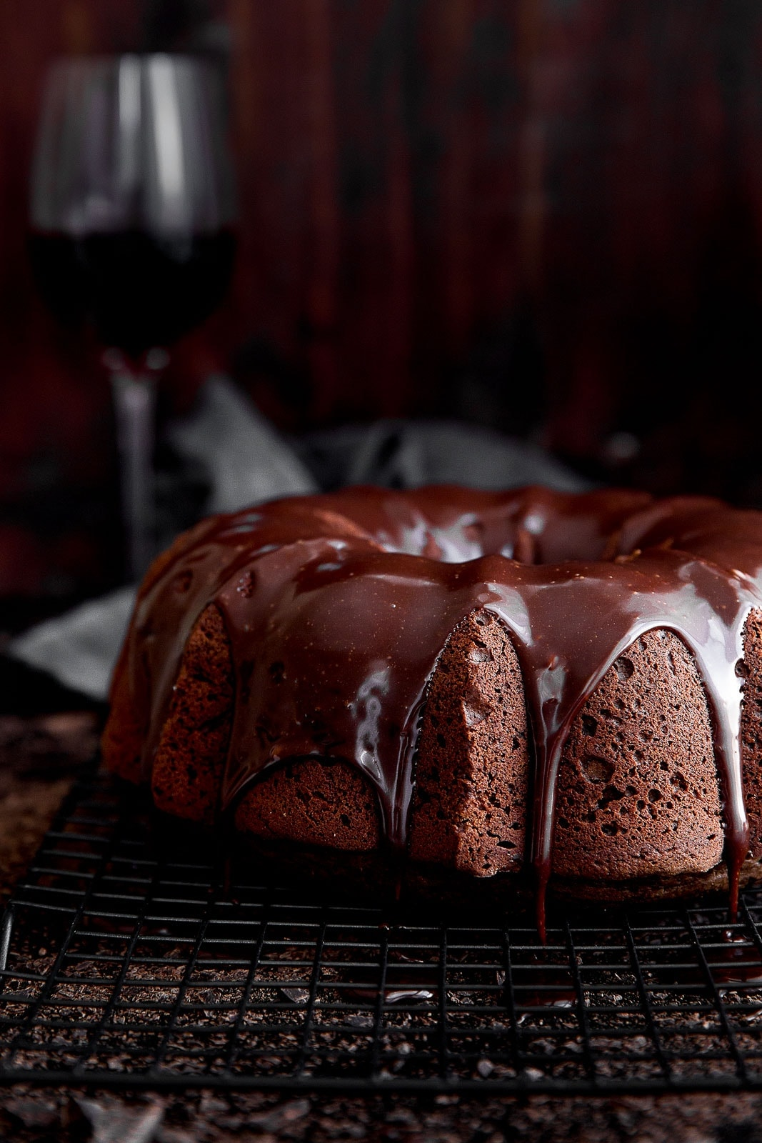 A moist red wine chocolate cake drizzled with red wine chocolate ganache. Swoon!