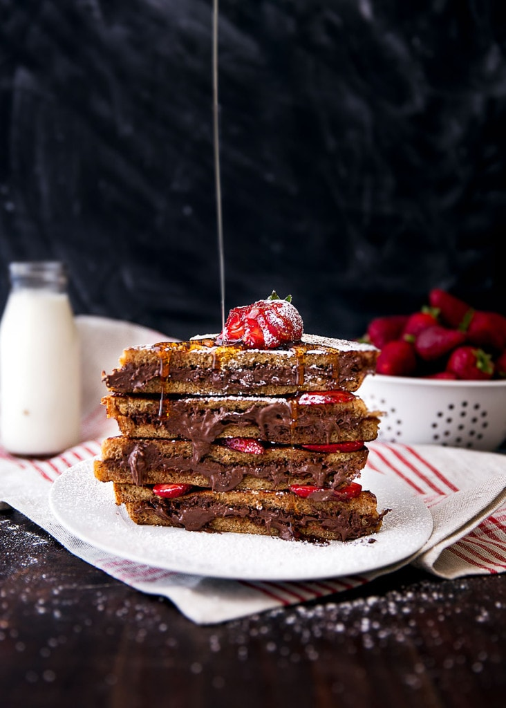 Strawberry Nutella French Toast stacked on a plate