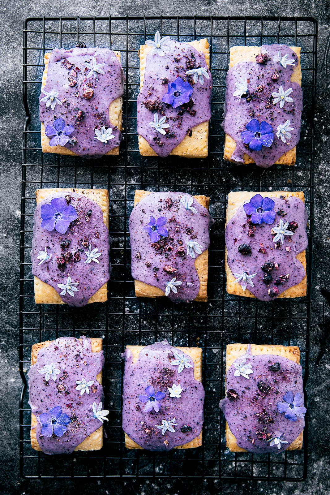 Lemon Curd and Blueberry Pop Tarts on wire rack