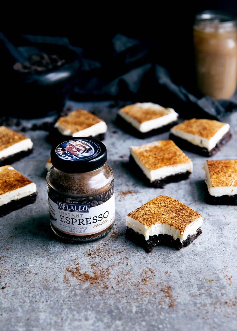 Tiramisu Brownies with espresso powder