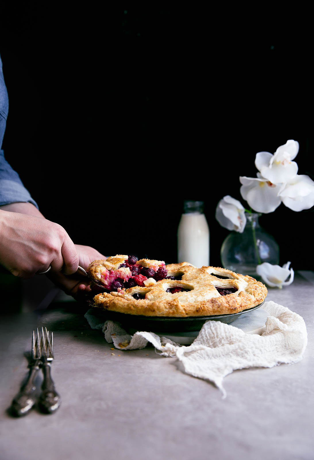 The prettiest pie there ever was: this quadruple berry bumbleberry pie.