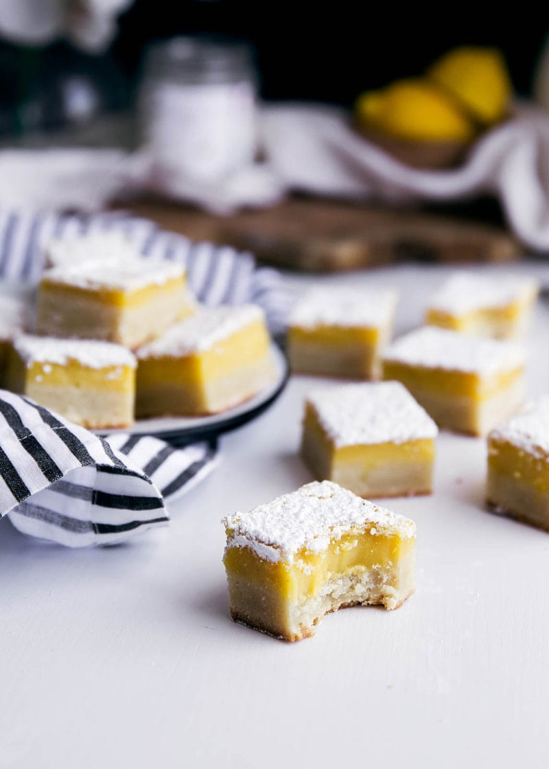 ginger lemon bars on countertop