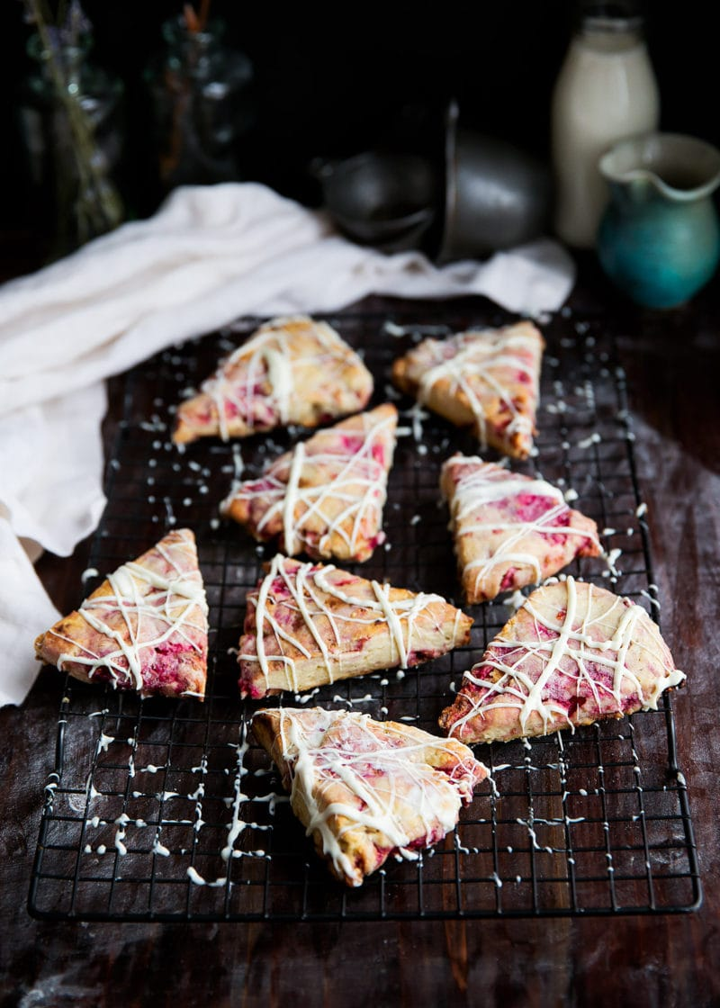White Chocolate Raspberry Rhubarb Scones
