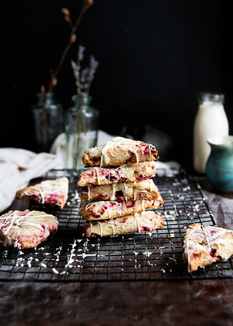 stack of White Chocolate Raspberry Rhubarb Scones on wire rack