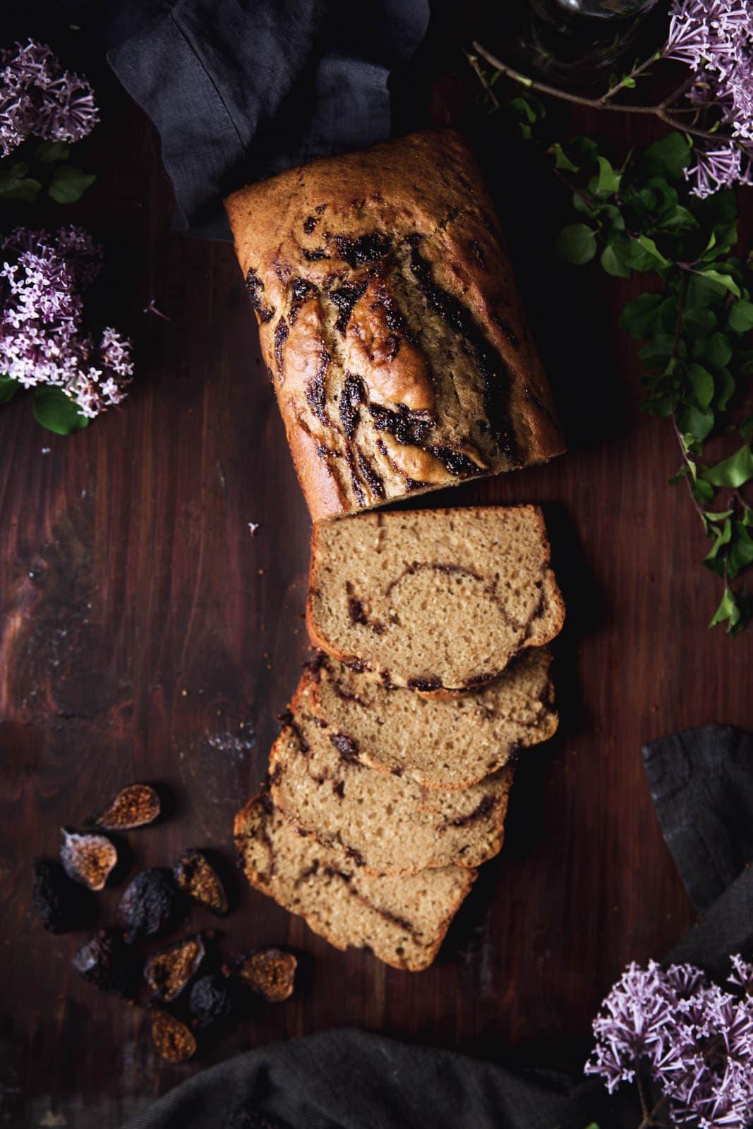 Bourbon-Fig Swirled Brown Butter Banana Bread