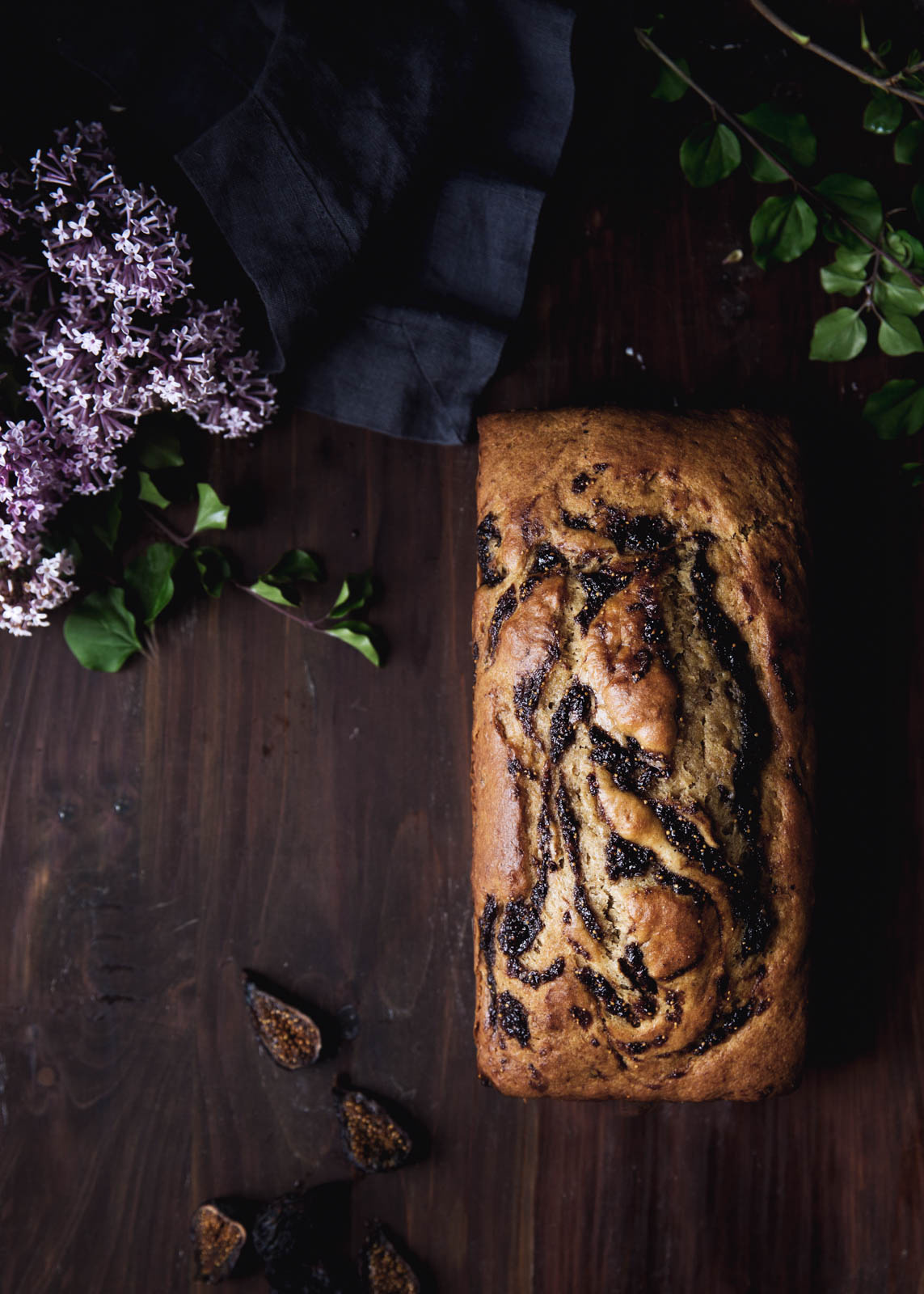 Bourbon-Fig Swirled Brown Butter Banana Bread loaf