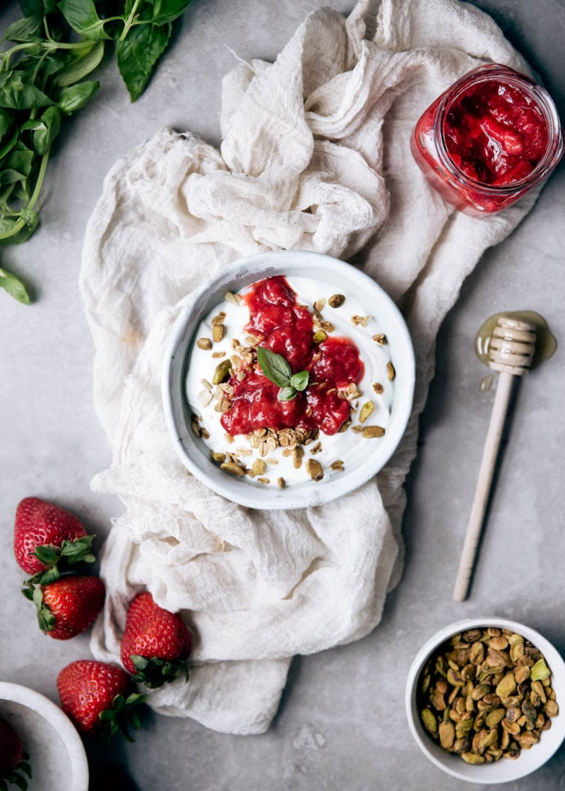 Simple and unique with only a touch of refined sugar, this Strawberry Basil Compote is perfect over yogurt, atop pancakes, or spread onto a piece of toast.