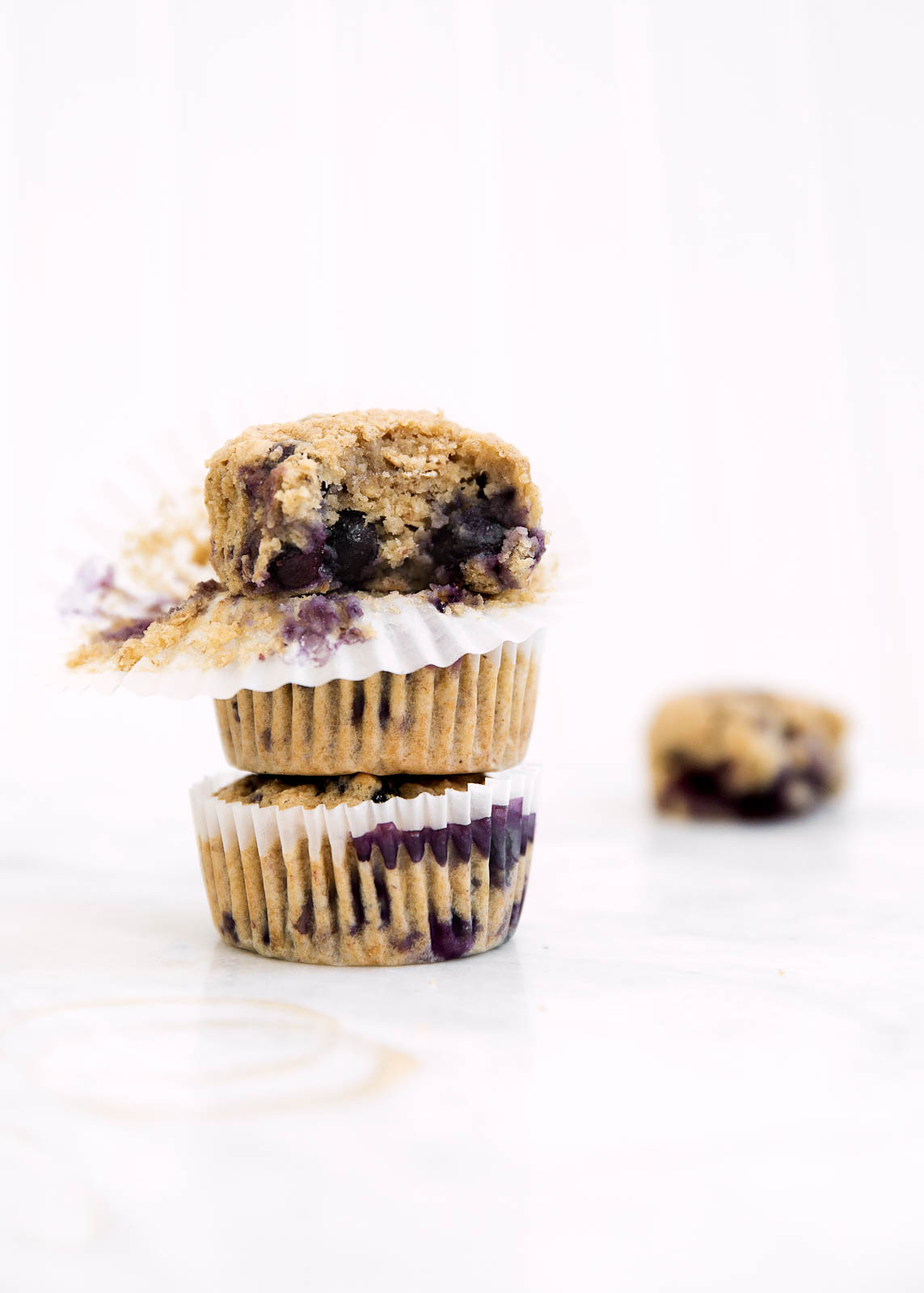 stack of blueberry banana muffins
