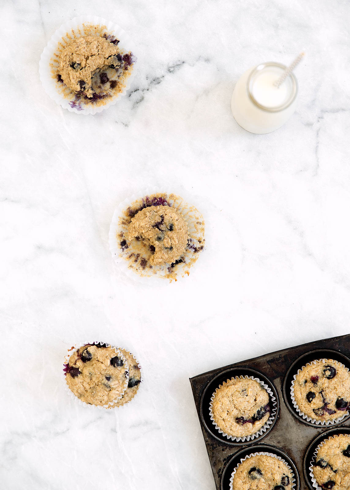 These refined sugar-free, gluten-free blueberry banana oat flour muffins are so velvety soft and moist, your taste buds won't even notice they're healthy!