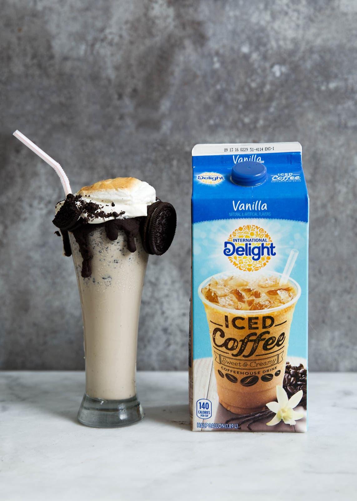 Iced Coffee Cookies and Cream Milkshake with carton of coffee