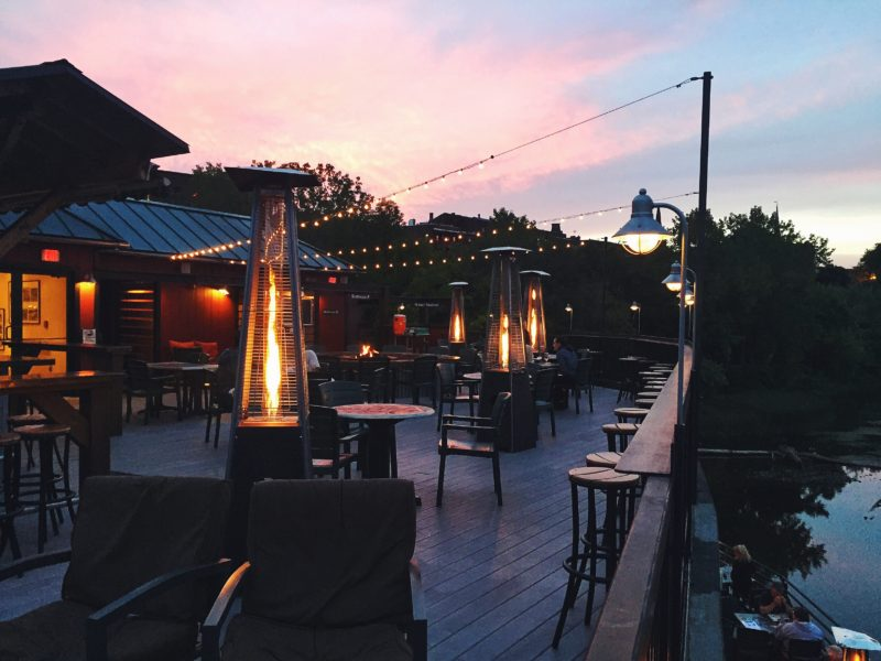 outdoor patio at dusk