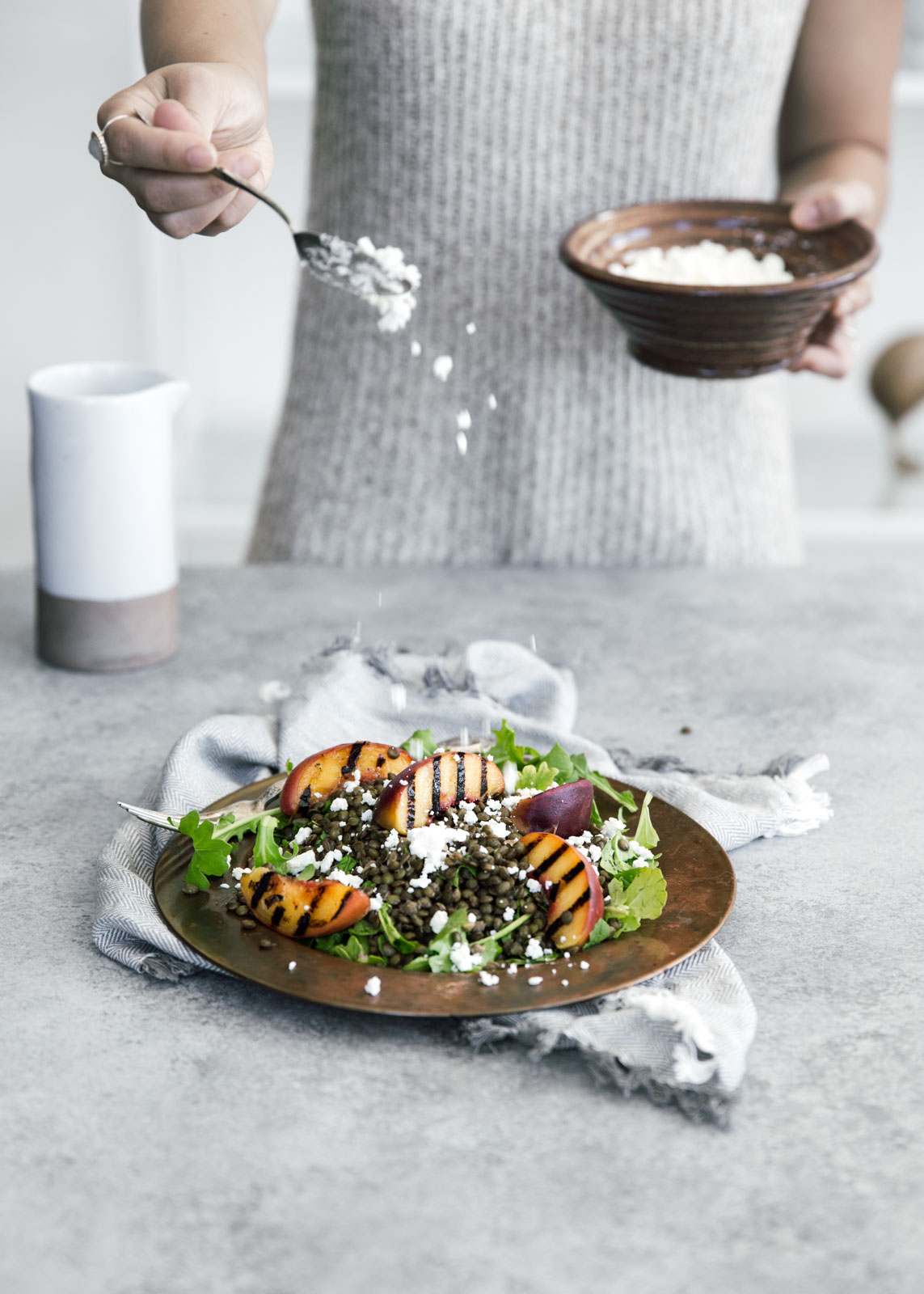 ... lentil salad with char-grilled peaches, goat cheese, and rosé