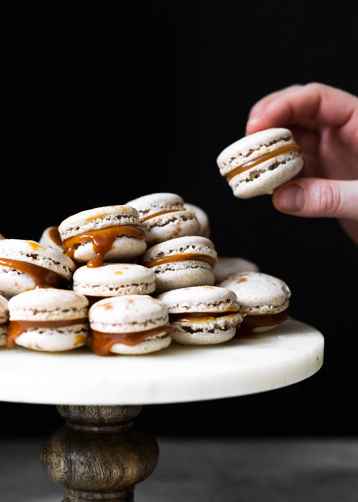 Chai spiced macarons with a salted caramel filling. Perfectly spiced and dangerously delicious!