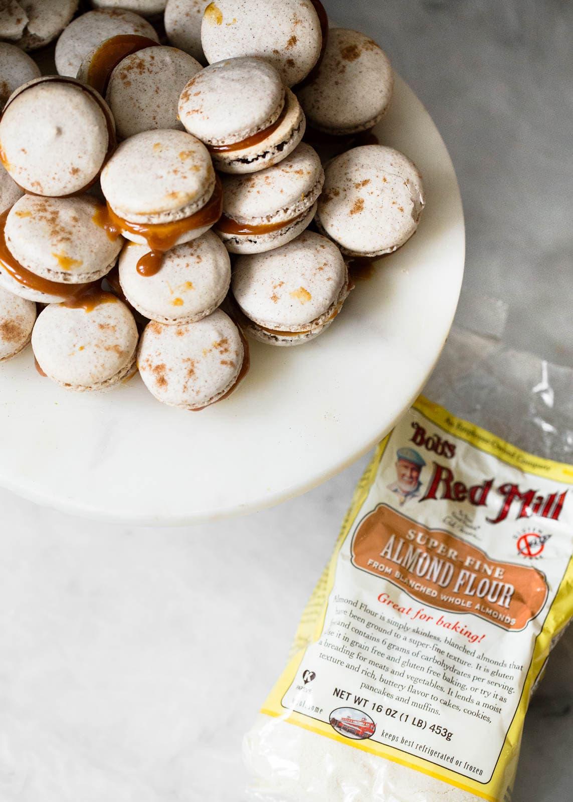 salted caramel macarons with almond flour bag